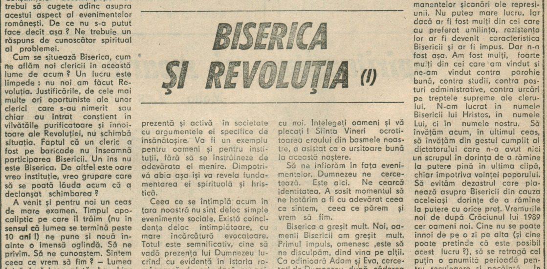 Biserica și Revoluția I – 4.02.1990 – România Liberă – Lumea Creștină