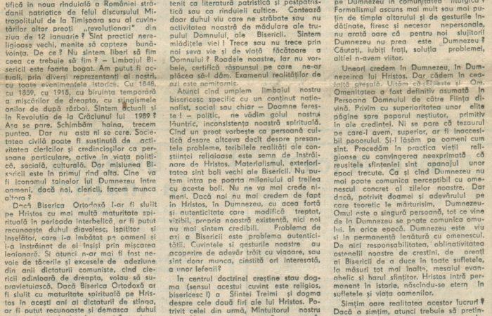 Biserica și Revoluția II – 11.02.1990 – România Liberă – Lumea Creștină