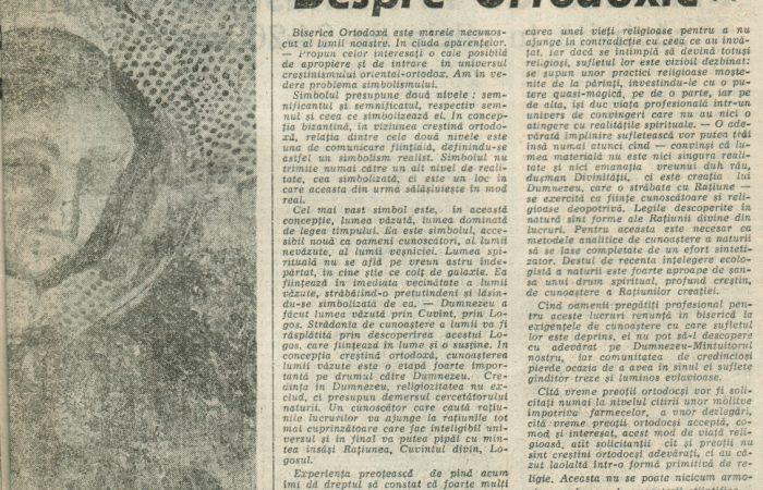 Despre Ortodoxie I – 25.02.1990 – România Liberă – Lumea Creștină